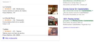 Restaurante en Castelldefels. SEO local con Google