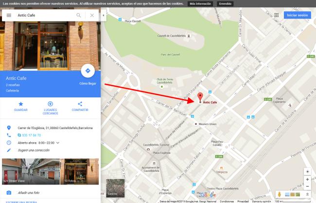 Alta Cafetería de Castelldefels en Google Maps