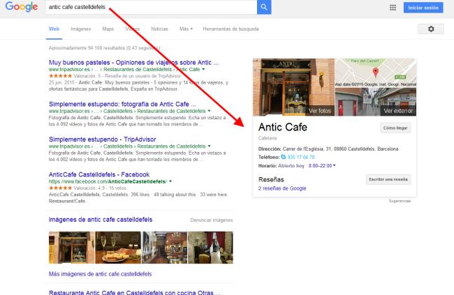 Buscador Google. Resultados Antic Cafe Castelldefels