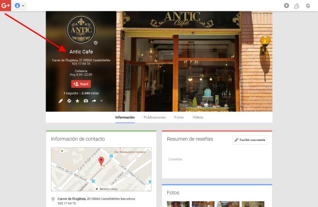 Google Plus red social. Alta Cafetería de Castelldefels