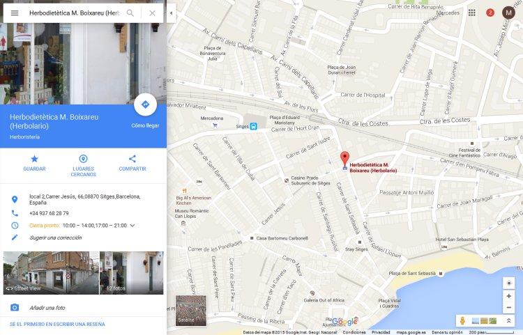 Alta en Mapa de Google de Herboristeria en Sitges, Barcelona