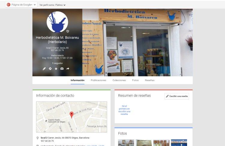 Creación página Herbolario de Sitges en Google Plus