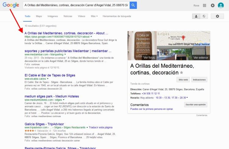 Búsqueda tienda cortinas Sitges alta en Google My Busines