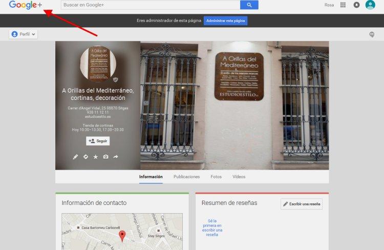 Creación página de empresa Google Plus de tienda de decoración en Sitges