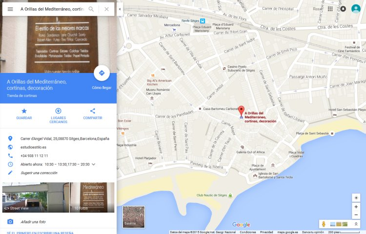 Posicionamiento local en Google Maps de tienda de cortinas Sitges