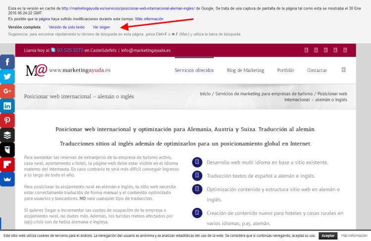 Caché de URL rastreada por Google bot