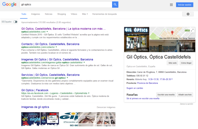Ópticas Castelldefels resultados buscador Google