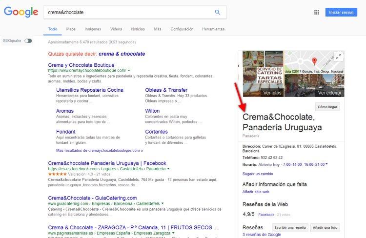 Panadería cafetería de Castelldefels en resultados de Google