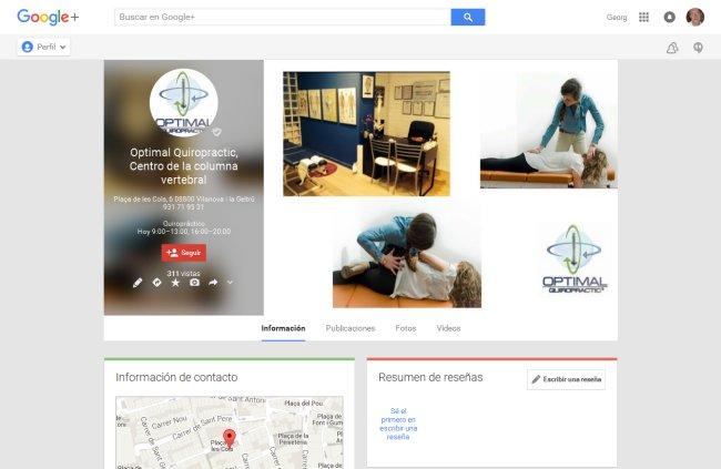 Alta en Google Plus centro quiropráctico Vilanova i la Geltrú, Barcelona