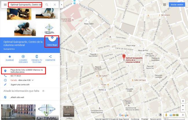 Alta en Google Maps de centro Quiropráctico Vilanova i la Geltrú