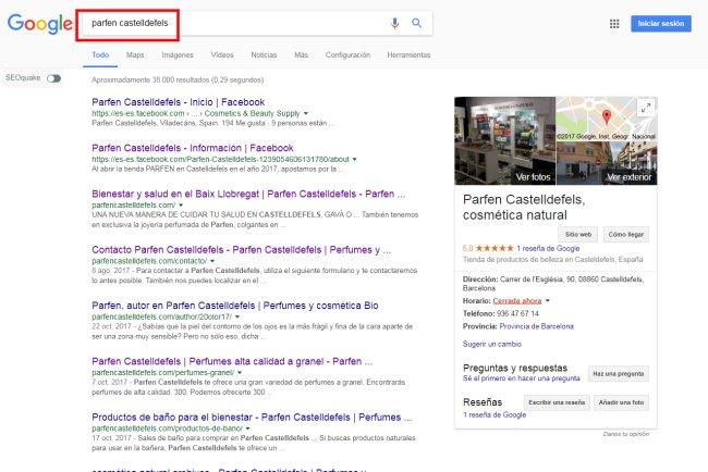 Buscador Google resultados para Parfen Castelldefels, Barcelona